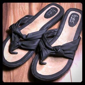 B.O.C. Slip On Black Leather Sandals 9.5